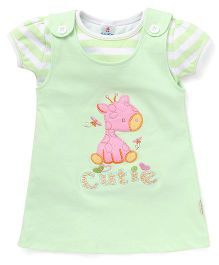 Child World Dungaree Style Frock With Top Giraffe Patch - Green