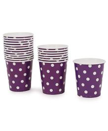 Karmallys Paper Cups Polka Dots Print Pack of 20 - Purple