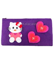 Kalacaree Mini Kitty & Heart Patch Pencil Pouch - Violet