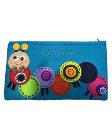 Kalacaree Cute Caterpillar With Bow Patch Pencil Pouch - Light Blue