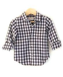 Cubmarks Button Down Checkered Shirt  - Black