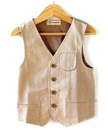 Cubmarks Illusion Pocket Line Waist Coats  - Beige