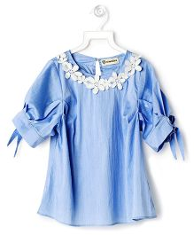 Cubmarks Lace Neck Embriodered Top - Blue
