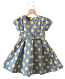 Cubmarks Polka Dot Fit & Flare Dress  - Blue