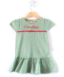 Cubmarks Verticle Striped Casual Dress  - Green