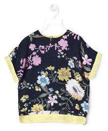 Cubmarks Beautiful Floral Printed Top - Navy Blue