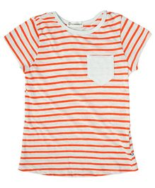 Cubmarks Striped Short Sleeves Tee  - Orange