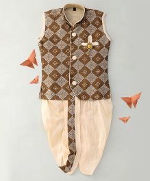 Little Groom Contrast Border Dhoti Jacket & Kurta With A Broach - Brown