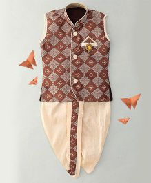Little Groom Sleeveless Kurta & Dhoti Set - Brown