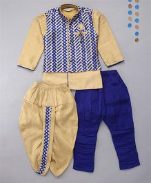 Little Groom 6 In 1 Ethnic Set With Brooch - Off White & Blue