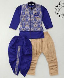 Little Groom 4 In 1 Ethnic Set With Broach & Pocket Squares - Royal Blue