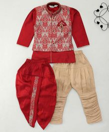 Little Groom 4 In 1 Ethnic Set With Broach & Pocket Squares - Maroon