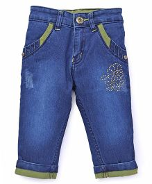 Pink Kat Denim Jeans Pant With Front Pockets - Blue & Yellow
