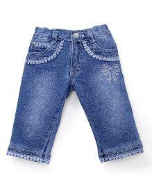 Pink Kat Girl's Denim Printed Jeans Pant - Blue