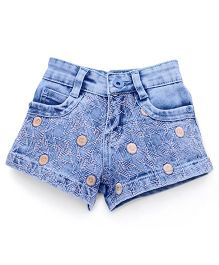 Pink Kat Denim Short With Thread Wrok for Girls - Light Blue