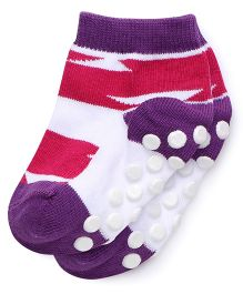 Mustang Anti Skid Socks - Fuchsia And Purple