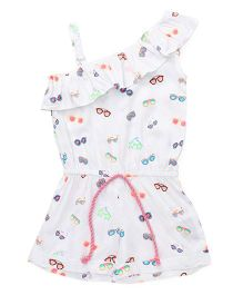 Vitamins Sleeveless Jumpsuit Sunglasses Print - White