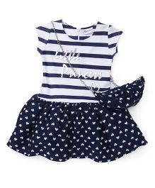 Peppermint Short Sleeves Party Wear Frock With Sling Bag - White Navy