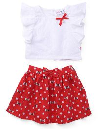 Peppermint Flutter Sleeves Schiffly Top And Skirt Printed - White Red