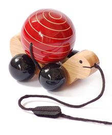 Wembley Wooden Organic Rotating Turtle Pull Along Toy Red - Medium