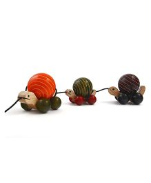 Wembley Wooden Organic Rotating Turtle Family Pull Along Toy - Red Black