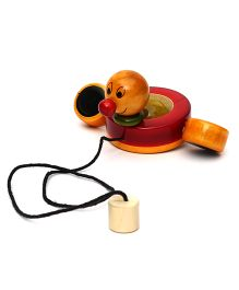 Wembley Wooden Organic Pull Along Quacking Paddling Duck - Red Yellow