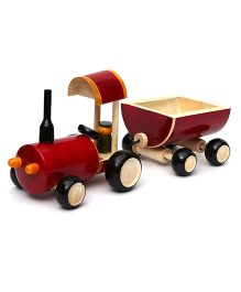 Wembley Wooden Organic Pull Along Tractor & Trailer - Maroon