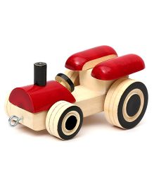 Wembley Wooden Organic Grip Enhancing Cutsie Tractor - Red Cream
