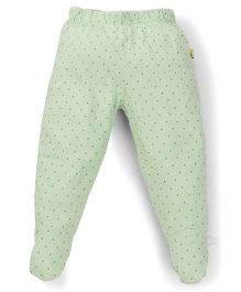 Tiny Bee Dot Print Girls Footed Leggings - Light Green