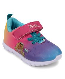 Barbie Design Casual Shoes With Velcro Closure - Pink & Sea Green