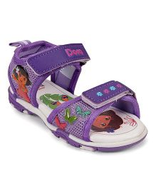 Dora Sandals Butterfly Motifs With Velcro Closure - Purple