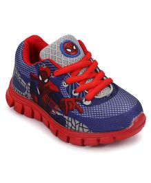 Spider Man Print Casual Shoes With Lace Tie Up - Blue Red