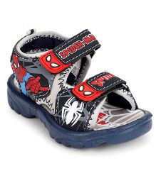 Spider Man Sandals With Double Velcro Closure - Grey Navy