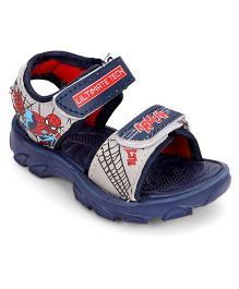 Spider Man Sandals With Double Velcro Closure - Navy