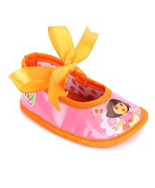 Dora Bellies Style Booties With Ribbon Tie Up - Pink Orange