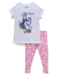 Chemistry Half Sleeves Printed Top With Pajama Frozen Print - White Pink