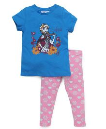Chemistry Short Sleeves Printed Top With Pajama Frozen Print - Pink Blue