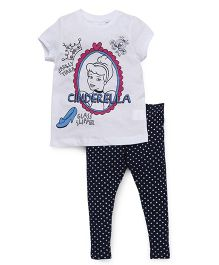 Chemistry Half Sleeves Printed Top With Pajama Cinderella Print - White Navy