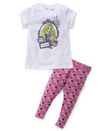 Chemistry Half Sleeves Printed Top With Pajama Rapunzel Print - White Purple Pink