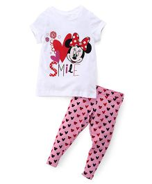 Chemistry Half Sleeves Printed Top With Pajama Minnie Mouse Print - White Pink