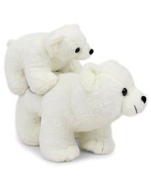 Tickles Soft Toy Mother Polar Bear With Baby White - 33 cm