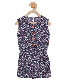 Campana Sleeveless Jumpsuit Allover Print - Navy & Red