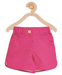 Campana Curved Hem Shorts Allover Print - Magenta Pink