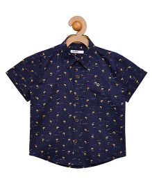 Campana Half Sleeves Shirt Allover Print - Navy Blue
