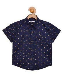 Campana Half Sleeves Shirt Allover Print - Navy Blue
