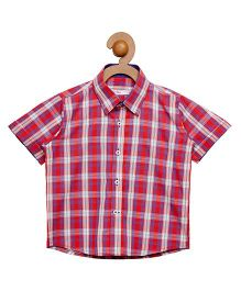 Campana Half Sleeves Checks Shirt - Red & Purple