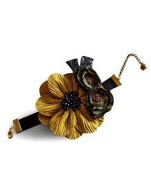 Soulfulsaai Flowers Lace Mounted On A Satin Wrapped Bracelet - Yellow