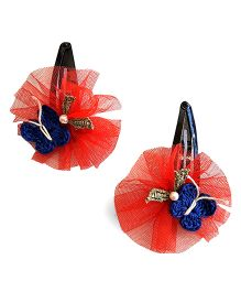 Soulfulsaai Butterfly Tic Tac Clips Embellished With Tiny Leaves & Pearls - Red