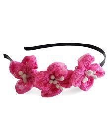 Soulfulsaai Round Net Flower Hair band- Dark Pink