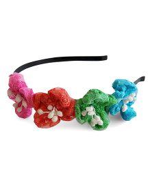 Soulfulsaai Round Petal Flower Hair band - Multicoloured